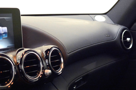 Leather upper section of dashboard