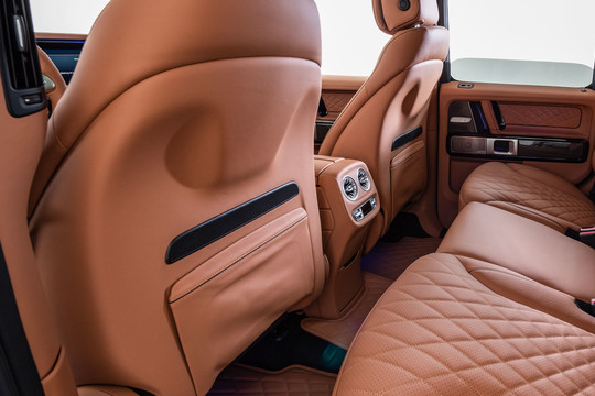 Leather backs front seats