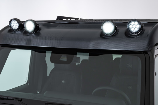 Carbon wind deflector with LED headlights