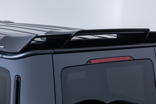 Rear spoiler with carbon inserts