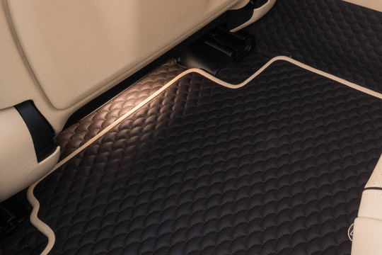 Leather vehicle flooring, quilted