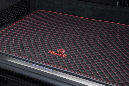 Trunk mat leather quilted black-red